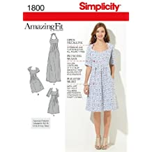 Simplicity 1800 Misses' and Plus Size Amazing Fit Dress Sewing Pattern, Size BB (20W-28W)