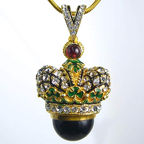 (CROWN BLACK ONYX NECKLACE Large Faberge Style Egg Pendant, 925 Sterling Silver, Swarovski Crystals, Enamel, Genuine Garnets, 24k Gold Vermeil, Gift for Her Jewelry for Woman Girls)