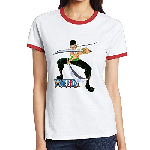 Women's One Piece Zoro Summer Jersey Ringer Tee XL Red (Lady Zoro)