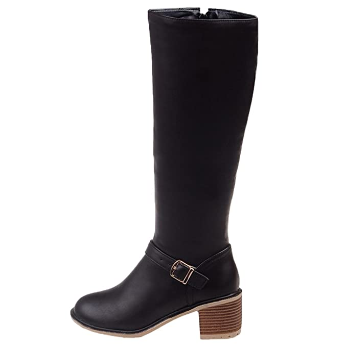 HooH Damen Halbschaft Stiefel Matt Kitten Chunky Reißverschluss Knie hoch Reitstiefel Kaffee 38 EU xYG5EZQ