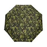 Jereee Green Military Camouflage Texture Compact Travel Umbrella, Outdoor Rain Sun Car Folding Umbrellas for Windproof, Reinforced Canopy, UV Protection, Ergonomic Handle, Auto Open/Close