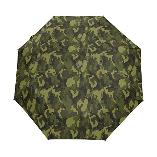 Jereee Green Military Camouflage Texture Compact Travel Umbrella, Outdoor Rain Sun Car Folding Umbrellas for Windproof, Reinforced Canopy, UV Protection, Ergonomic Handle, Auto Open/Close by Jereee