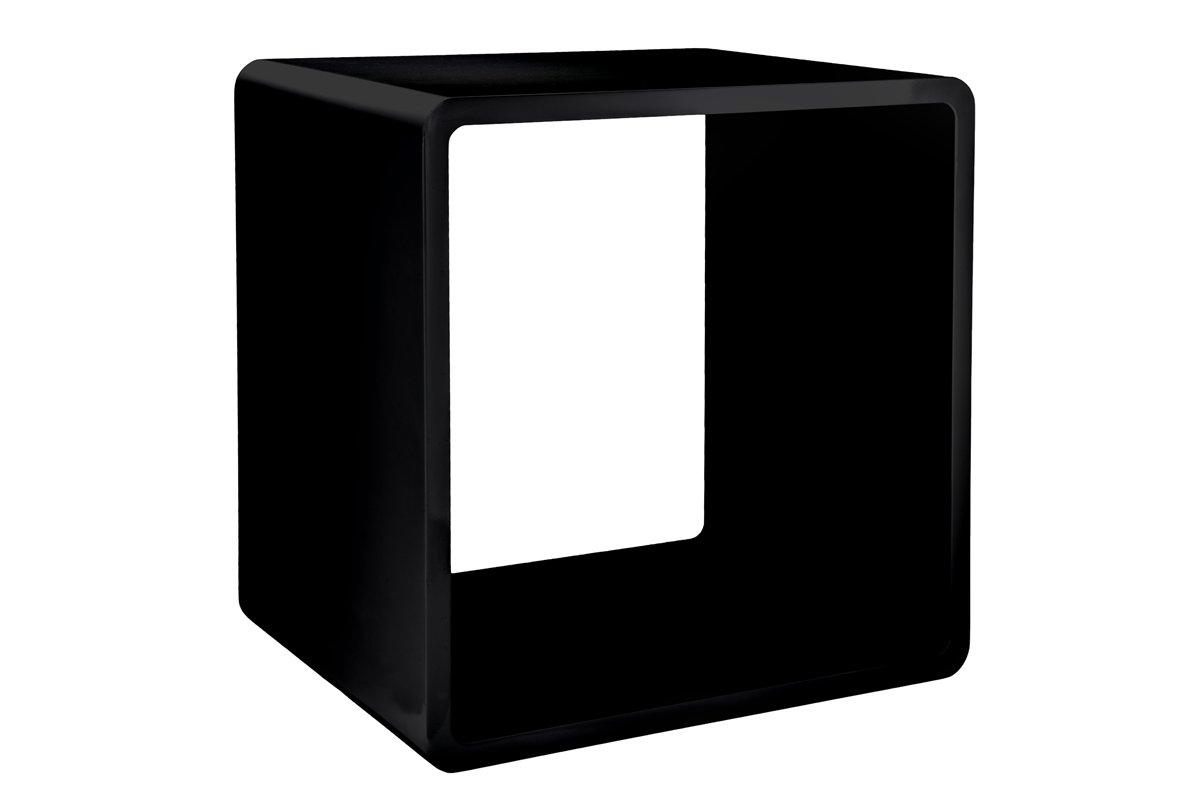 7even Lounge Design Cube / 70`s Space Age Stil/mattglanz schwarz 45cm / Regal, Universal & Vinylm