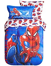 Expressions Disney and Marvel Toddler Bedding Set,5 Piece Bed Set Includes Reversible Comforter, Flat Sheet, Fitted Sheet, Pillowcase, Sham for Kids