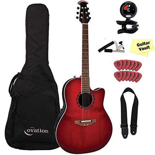 Ovation 2771AX-CCB Cherry Cherry Burst Standard Balladeer Deep Contour Cutaway Acoustic Electric GuitarVault Package with Gig Bag and Accessory Pack