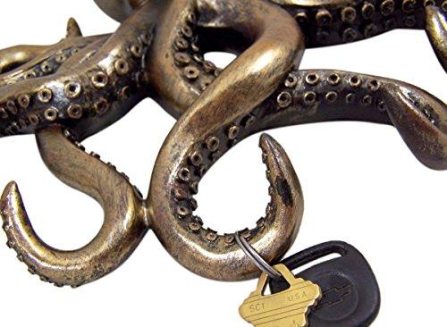 Decorative Octopus Bronze Finish Key Holder Wall Decor, 11 Inch