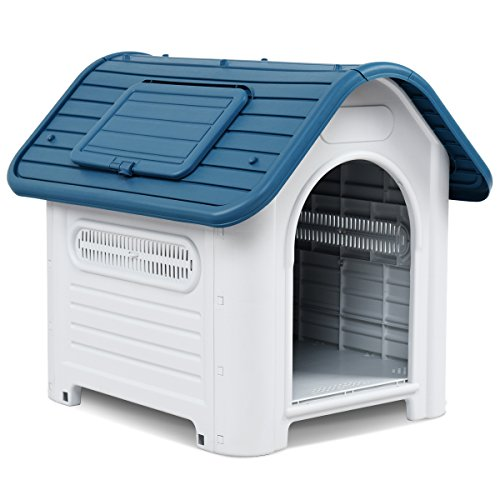 Giantex Outdoor Indoor Pet Dog House Portable Waterproof Plastic Puppy Shelter All Weather Roof Cat Dogs House with/without Skylight (Blue, With Skylight) For Sale