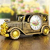 Easyflower Add Much Fun Vantage Car Alarm Clock,Retro Car Style Alarm Clock with Pencil Box Children Gift Table Desk Car Shape Clock (Color : Golden)