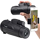 Monocular 12x50 High Powered Monoculars Scope Telescope with Quick Smartphone Adapter and Tripod - Waterproof Fogproof FMC Lens and Bak4 Prism for Bird Watching Wildlife Secenery