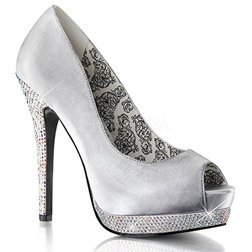 (Pleaser Bordello Women's Bella 12R Pumps,Silver,11 M)