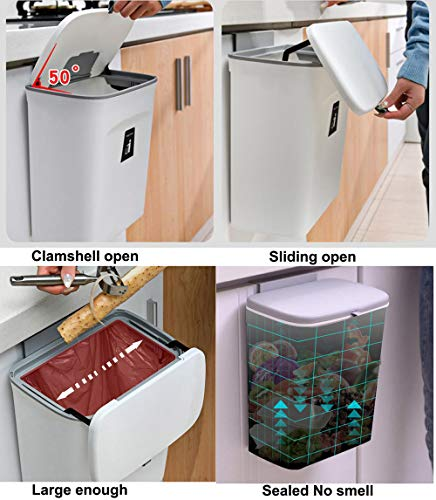 51BY25%2BNRFL Curious Fish Wandküchenschrank Tür Hängende Tür Kunststoff-Mülleimer mit Deckel Schiebeabdeckung unter Waschbecken…