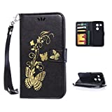 LG Nexus 5X Case,Kmety Golden Butterfly Flip Folio PU Leather Kickstand Wallet Purse Case with Wristlet & Credit Card Slots Cash Holder for LG Nexus 5X