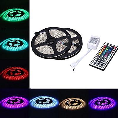 KLAREN® 10M 32.8 Ft 5050 SMD Water-Proof Flexible RGB LED Strip Lighting + 44 Key Remote + Receiver
