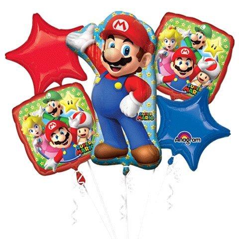 Super Mario Bros Balloon Bouquet - Super Mario Balloons - 5 Pieces