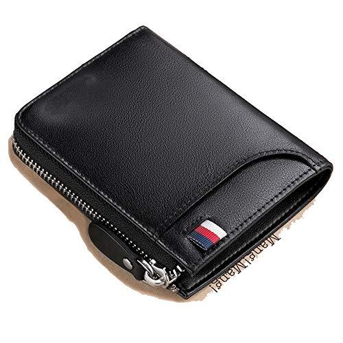 Porta Pelle Portafoglio Maschio Corto Da Black Uomo Doppia Carte Portamonete Casual In Lmshm Con Nero nero Cerniera Bpq7wExnd