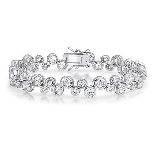 Bling Jewelry Bridal Wedding Prom Round Bubble Zig Zag Cubic Zirconia CZ Tennis Bracelet for Women Girlfriend Silver Plated Brass