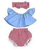 Imcute Cute Baby Girls Short Sleeve Blouse Tube Top+High Waist Pom Pom Short Pants (12-18 Months, 3pcs Blue)