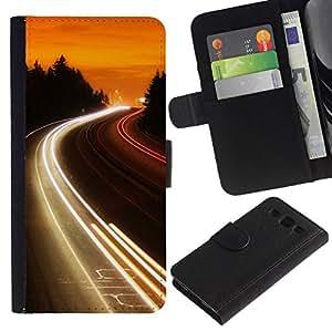 All Phone Most Case / Oferta Especial Cáscara Funda de cuero Monedero Cubierta de proteccion Caso / Wallet Case for Samsung Galaxy S3 III I9300 // Highway Lights Glow