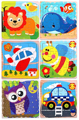 Puzzles Toys for Kids for Age 3-5, 16 Pieces Vibrant Wooden Animals & Vehicle Kids Educational Puzzles for Toddlers, Set of 6 Preschool Puzzle Autism Children Puzzles Learning Toys ()