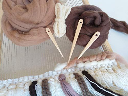 Tapestry Needles for Weaving Loom Nalbinding Needles Toothbrush Rag Rug Tools Set of 3 Handmade