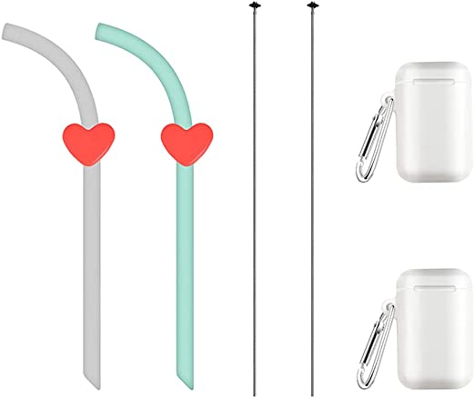 Eco-friendly Silicone Folding Portable Reusable Soft Silicone Straw with Holder