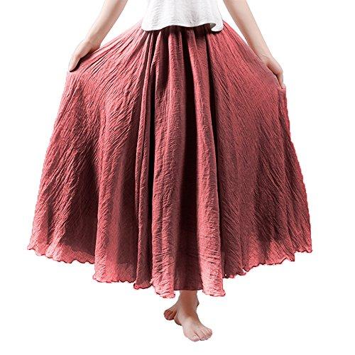 HOYMN Jupe Maxi Femme en Lin Elastique Longue Plisse Jupe de Plage Casual Style Simple Couleur Uni Bordeaux