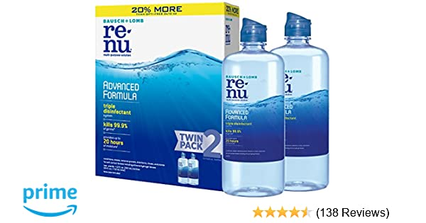 Bausch + Lomb ReNu Lens Solution, Advanced Triple Disinfect Formula, Multi-Purpose, 12 Ounce Bottle Twinpack