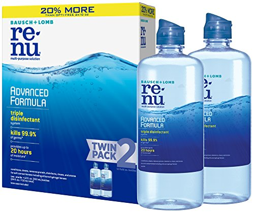 Bausch + Lomb renu Lens Solution Advanced Triple Disinfect Formula Multi-Purpose, 12 Ounce Bottle Twinpack (Contact Lenses Case Clean)