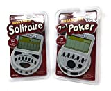 Gambling Electronic Game Pack - Mega Screen Solitaire Handheld Game & 7 in 1 Poker Handheld Game