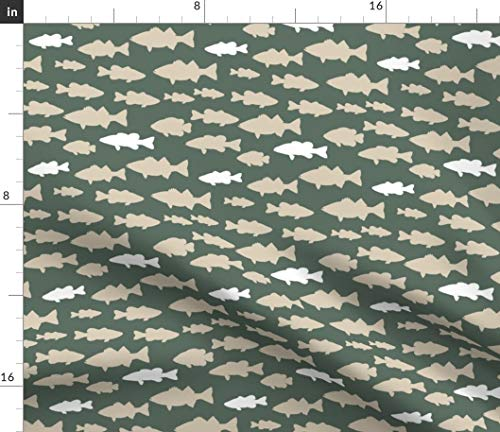 (Spoonflower Little Arrow Fabric - Fishing Baby Boy Little Arrow Little Arrow Fish Fishing Woodland Rustic Sage Green Nursery by Littlearrowdesign Printed on Petal Signature Cotton Fabric by The Yard)