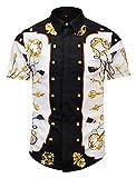 Pizoff Mens Luxury Short Sleeve Gold Keys Button Down Dress Shirt AL003-42-M