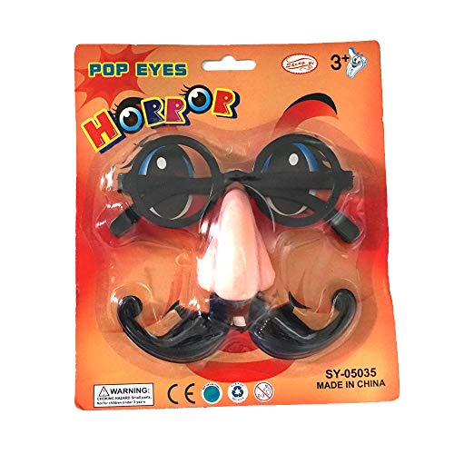 Halloween Decoration Big Nose Beard Funny Glasses for Halloween Christmas Party Festival Carniva Cosplay Accessory(Black) 1PC