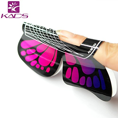 KADS 100pcs in 1 Roll Big Size Butterfly-shape Self Adhesive Gel Nail Extension Nail Forms for Acrylic Nails Tips
