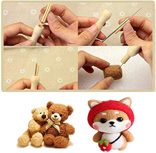 Needle Felting Tools, Wool Felting Supplies, Needle Felting Kit-Felting Needles, Needle Felting Foam, Scissors, Wooden Handle, Awl, Glue Stick, Finger Cots, Great for DIY Felting Wool Projects