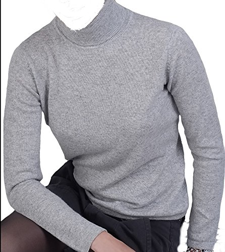 Balldiri 100% Cashmere Kaschmir Damen Pullover Rollkragen ohne Bündchen hellgrau XXL