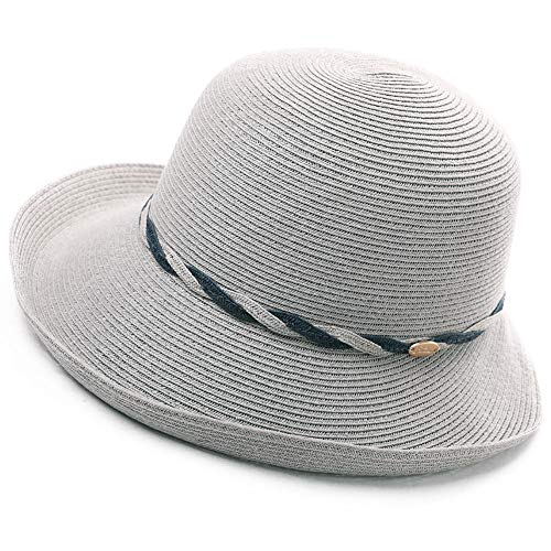 - Womens Ladies Summer Sun Beach Straw Bucket Hats UV Protective Outdoor Patio Panama Fedora Packable Foldable Gray