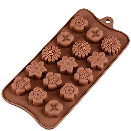 15 Holes Silicone Mold with 5 Kinds of Flower - Silicone Chocolate Mould - DIY Baking Molds - Chocolate Molds Silicone ()