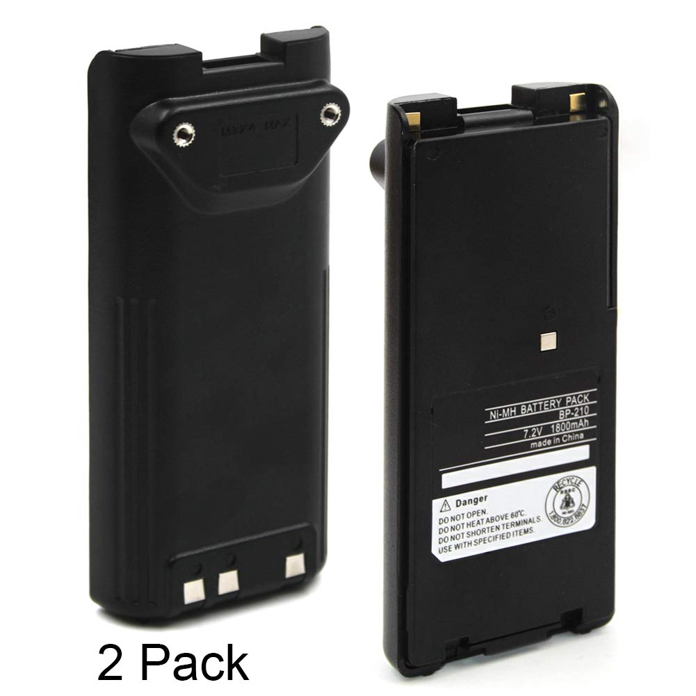 (2-Pack) 1800mAh Replacement Two-Way Radio Battery Packs BP-209 BP-210 BP-222 BP-209N BP-210N BP-222N for ICOM Radios C-A6 IC-A24 IC-F30GT IC-F30GS IC-F40GT IC-F40GS IC-F3GT IC-F3GS IC-V8