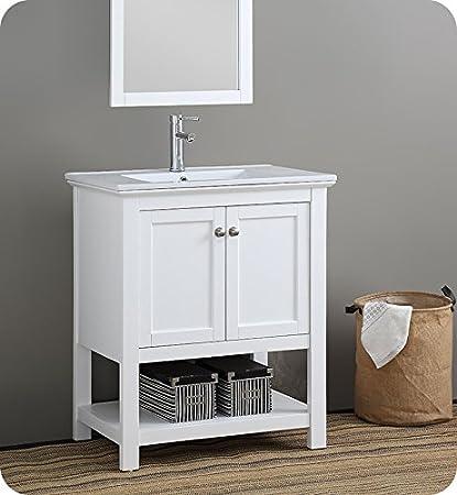 Fresca Manchester 30u0026quot; White Traditional Bathroom Vanity