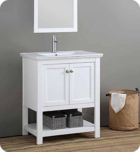 "Fresca Manchester 30"" White Traditional Bathroom Vanity"