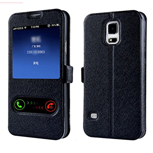 Aobiny Window Leather Flip Cell Phone Case Mobile Cover Skin for Samsung Galaxy S5 G900 i9600 (Black)