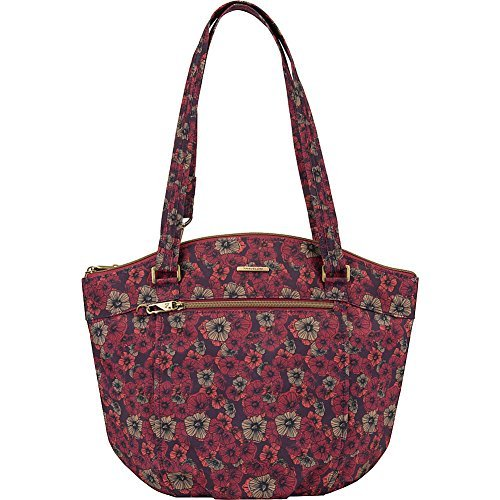Travelon anti-Theft Dome Top Bucket Handbag with RFID protection (Floral Fusion (Reds))