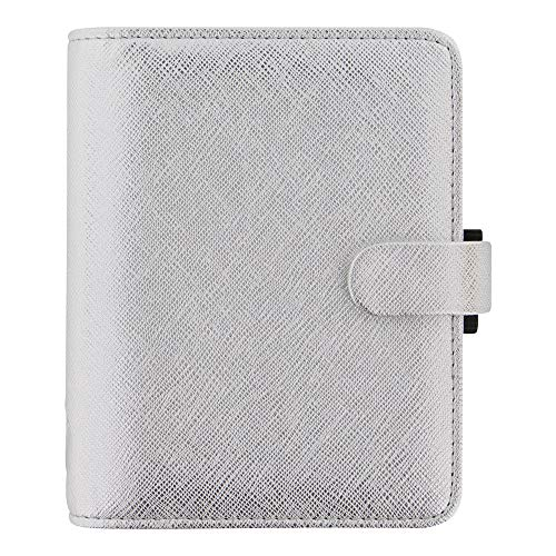 Filofax Pocket - Filofax 2019 Pocket Organizer, Saffiano Metallic Silver, 4.75 x 3.25 inches (C028755-19)