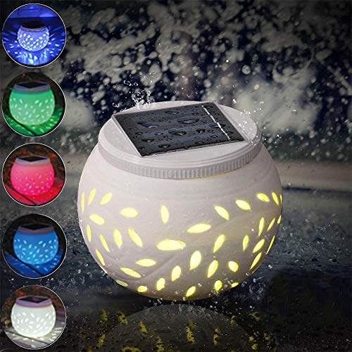 Outdoor Solar Table Lamp Ceramic Jar Decoration Lantern, Multi-Color Changing LED Solar Powered Lights Waterproof for Party Home Yard Patio Indoor Decoration Night Light Color Changing Ceramic Can by Guardian