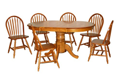 TMS 7 Piece Farmhouse Dining Set, Oak