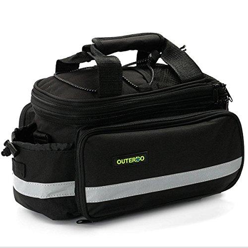 OUTERDO Cycling Bicycle Bike Rear Tail Rack Bag Handbag Bag Pannier Pouch Trunk Storage Pack Travel Black