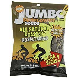 "JUMBO SUNFLOWER SEEDS Sunflower Seeds, Mega No Salt, 5.5-Ounce (Pack of 12) 31 Jumbo is not only our brand name, it also refers to the large size of our sunflower seeds. Our seeds are ""Grown Bigger To Taste Better"". Our larger seeds a"