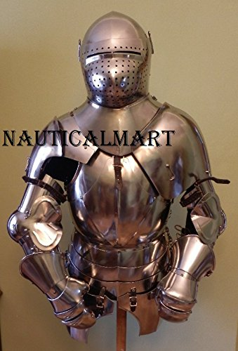 Knight Suit of Armor Breastplate with Helmet Medieval Armor Authentic Costume by NAUTICALMART (Image #3)