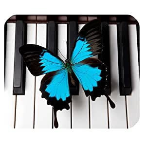 Beautiful Butterfly and Piano Key Personalized Rectangle Mouse Pad by ruishername