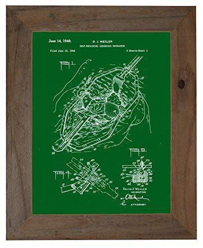 Self-retaining Abdominal Retractor Patent Art Green Print in a Barnwood Frame (20